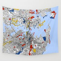 sydney Wall Tapestries featuring Sydney by Mondrian Maps