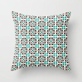 Gem Tiles Turquoise Throw Pillow