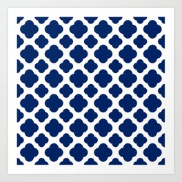 Royal Blue Quatrefoil Art Print