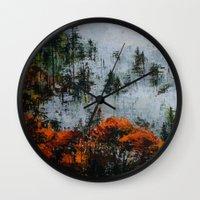 twin peaks Wall Clocks featuring Twin Peaks  by Olga Krokhicheva
