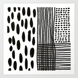 Play minimalist abstract dots dashes and lines painterly mark making art print Art Print