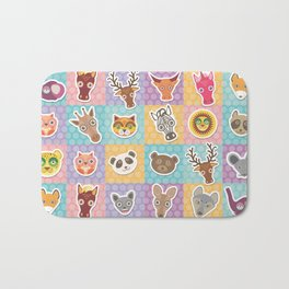 funny animals muzzle pattern with pink lilac blue orange square Bath Mat