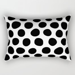 Black Hand Painted Spots on White Rectangular Pillow