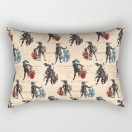 Medieval Knights in Armor with  Coats of Arms Rectangular Pillow