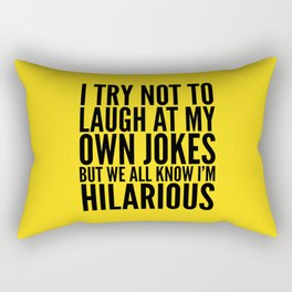 I TRY NOT TO LAUGH AT MY OWN JOKES (Yellow) Rectangular Pillow