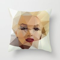positive Throw Pillows featuring Monroe. by David