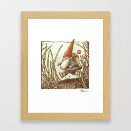 Gnome on the Run Framed Art Print