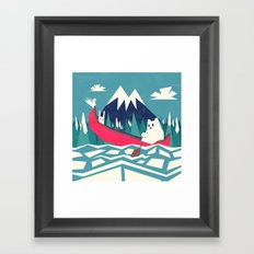 Yeti and bunny going on an adventure Framed Art Print