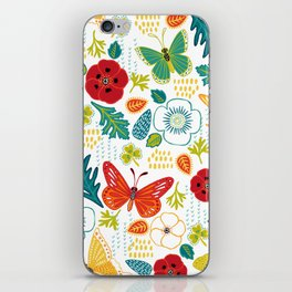 Butterly Garden on White iPhone Skin