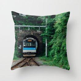 Tunnel Train Throw Pillow