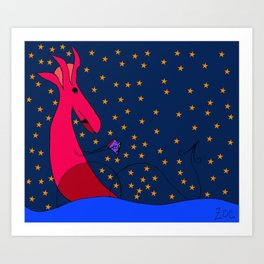 Reading Water Dragon Art Print