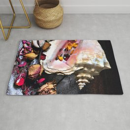 Maritime Symphony with Sea Shells and Roses Rug