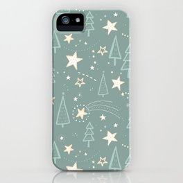 Christmas Nativity - Night Sky and Trees Pattern / Teal iPhone Case