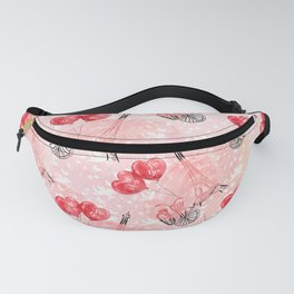 Valentine's Day Paris Bike Red Heart Balloons Fanny Pack
