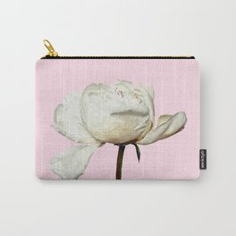 White Peony Pink Background Carry-All Pouch