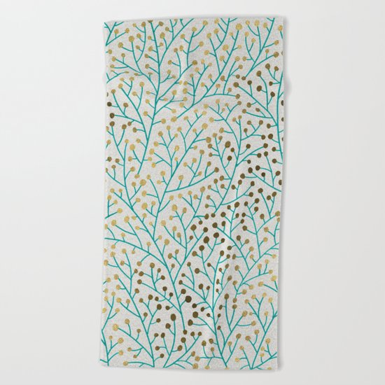 Berry Branches – Turquoise & Gold Beach Towel