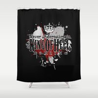 crowley Shower Curtains featuring King of Hell by tripinmidair