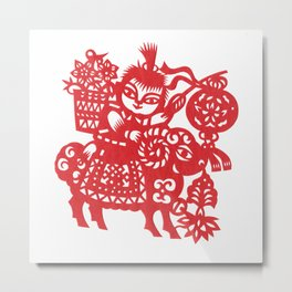 Little Boy on a Goat Metal Print