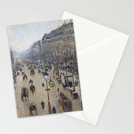 Camille Pissarro  -  Boulevard Montmartre  Morning  Cloudy Weather Stationery Cards