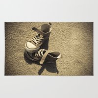 sneaker Area & Throw Rugs featuring Lost shoes by Maria Heyens