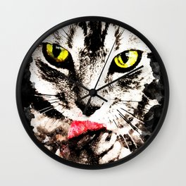 cat kitty licks licking paws perfectly Wall Clock