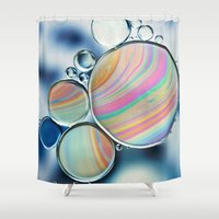 oil Shower Curtains featuring oil and water by Ingrid Beddoes