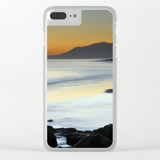 """Serenity beach"". Orange sunset Clear iPhone Case"