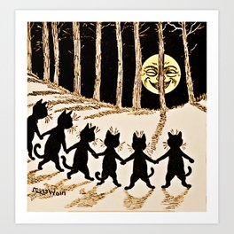Cats & a Full Moon-Louis Wain Black Cats Art Print