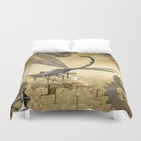 steampunk Duvet Covers featuring Steampunk, dragonflies by nicky2342