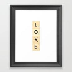 LOVE - Vertical Scrabble Letter Tiles Art Framed Art Print