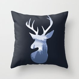 Deer Abstract Blue Landscape Design Throw Pillow