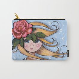 Big-Eyed Girl with Pink Rose on Head, Pop Surrealism, Original Art, Illustration Carry-All Pouch