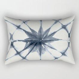 Shibori Starburst Indigo Blue on Lunar Gray Rectangular Pillow