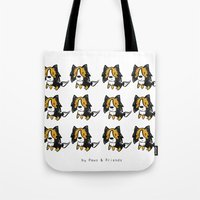 kobe Tote Bags featuring Sheltie Ball  by pawsandfriends