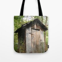 toilet Tote Bags featuring Outdoor toilet by jim snyders photography