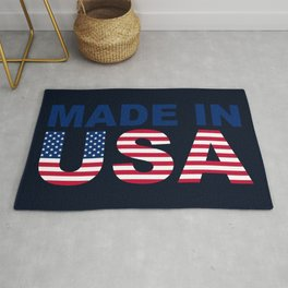 Made in USA text with USA flag Rug