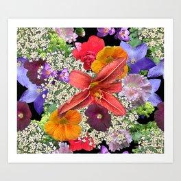 Newt in multi color floral Art Print