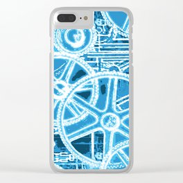 Geared Up ( Big Blue) Clear iPhone Case