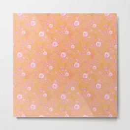 Abstract pink garden pattern in mustard background Metal Print
