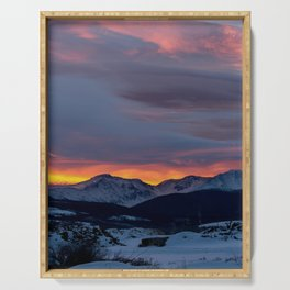 Cold Morning, Fiery Sunrise. Colorado Winter. Serving Tray