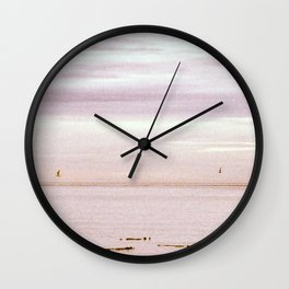 Pink Evening Sky by the Sea Wall Clock