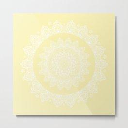 Mandala Yellow Lace Pattern Classic Elegant Bohemian Décor Metal Print