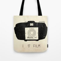 film Tote Bags featuring I Love Film by Farnell