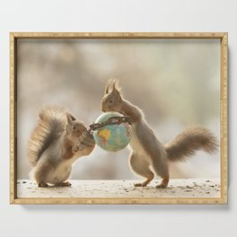 squirrels with a chained earth globe Serving Tray