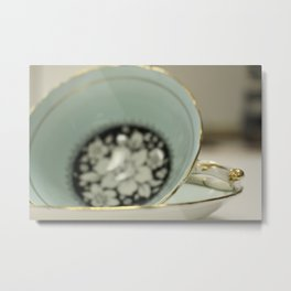 Blue Flowered Teacup Metal Print