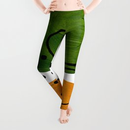 Modern Mid Century Fun Colorful Abstract Minimalist Painting Olive Green Yellow Ochre Buns Leggings