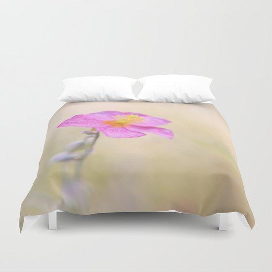 Lovely pink flower against backlit  Duvet Cover