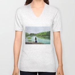 girl and nature Unisex V-Neck
