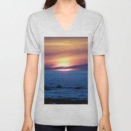 Sunset over Blue Waters Unisex V-Neck