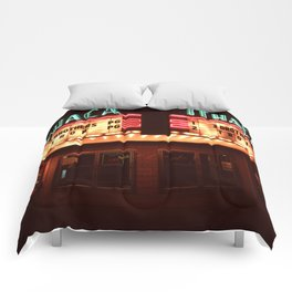 Night Lights Ithaca Theater Comforters